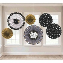 Graduation Paper Fan Decorations ~ 6 per pack