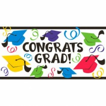 Graduation Large Plastic Horizontal Banner