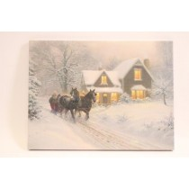"Christmas Framed Print with LED Lights - Winter Sleigh ~ 16"" x 12"""