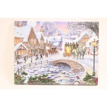 "Christmas Framed Print with LED Lights - Winter Village ~ 16"" x 12"""