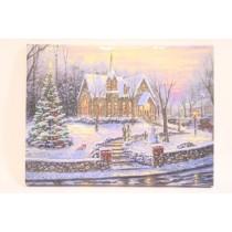 "Christmas Framed Print with LED Lights - Church ~ 16"" x 12"""