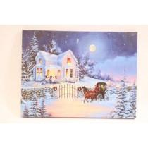 "Christmas Framed Print with LED Lights - House & Sleigh ~ 16"" x 12"""