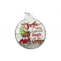 """Christmas 6LED Light Up Ball Plaque - Jingle All The Way ~ 12"""" x 13"""""""