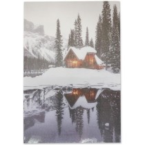 "Christmas Framed Print with LED Lights - Lake House ~ 16"" x 12"""