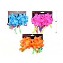 "Neon 4"" Bow wtih Curly Swirl - 2 per pack ~ 3 assorted colors"