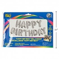 """Air Filled Balloons - 14"""" ~ Silver """"Happy Birthday"""""""