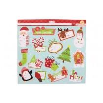 Christmas Glitter Peel & Stick Tags ~ 30 per pack
