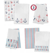 Printed Flour Sack Kitchen Towels - Boathouse ~ 2 per pack