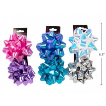 "Laser / Iridescent 4.5"" Bow - 2 per pack ~ 3 assorted colors"