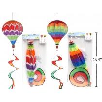 "Rainbow Air Balloon Spiral Wind Spinner ~ 12"" x 55""L"