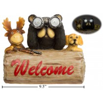 """Polyresin """"Welcome"""" Sign with Beer, Moose & Dog ~ 9.5"""" x 6.5"""" x 8"""""""