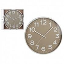 "Taupe / White Wall Clock - 14"" Round"