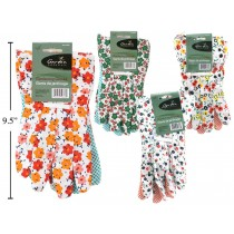 Ladies Garden Gloves with Floral Design & Grip Dots
