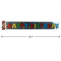 "Foil Banner - 3' ~ ""Happy Birthday"""