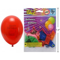 "9"" Round Balloons - Happy Birthday ~ 12 per pack"