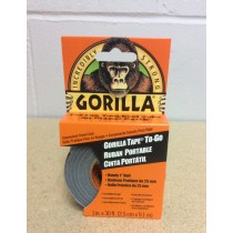"Gorilla Tape To-Go ~ 1"" x 30' ~ Handy Pack ~ Clipstrip of 8"
