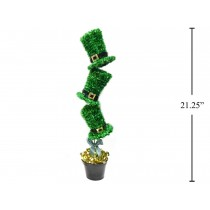 "St. Patrick's Day Tinsel Hat with Belt Tabletop Decoration ~ 4.7"" x 20.5""H"