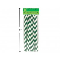 St. Patrick's Day Green Striped Paper Straws ~ 16 per pack