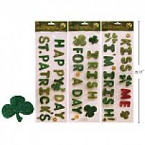 St. Patrick's Day Glitter Gel Cling Banner