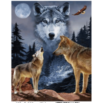 Full Moon Wolves Micro Mink Throw