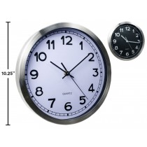 "Brushed Metal Wall Clock - 10.25"" Round ~ 2 assorted"
