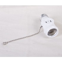 Socket w/Twin Outlets & Pull Chain ~ White