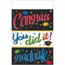 "Congrats Grad! You Did It Tablecover ~ 54"" x 102"""