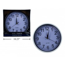 "Plastic Wall Clock - 9.5"" Round ~ 2 assorted"