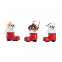 "Christmas 4"" Polyresin Puppy in Red Santa Boot Tree Ornament"
