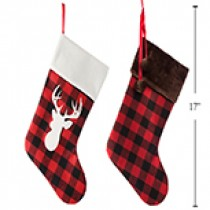 "Christmas Buffalo Plaid Stocking with Faux Fur Cuff ~ 15""L"