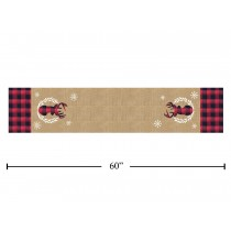 Christmas Buffalo Plaid Jute Table Runner with Reindeer Applique ~ 60""