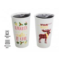 Christmas Ceramic Coffee Mug with Lid ~ 10oz