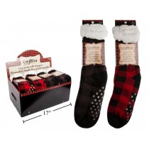 Buffalo Plaid Cozy Socks with Grippers