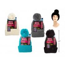 Ladies Heat Max Thermal Hat with Pom Pom