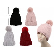 Ladies Chenille Hat with Faux Fur & Pom Pom