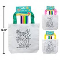 "Easter Tote Bag 8"" w/5 Coloring Pens ~ 3 asst"