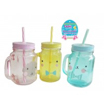 Easter Plastic Mason Jar with Lid & Straw ~ 14oz