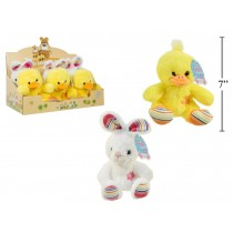 """Easter 7"""" Soft Embroidered Plush Animal with Flower Design"""