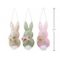 "Easter Burlap Stuffed Bunny with Pom Pom Tail Hanging Decor ~ 11.5"" x 5"""
