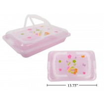 "Easter Print Plastic Food Carrier with Frosted Lid & Handle ~ 14"" x 13.75"""