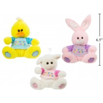 "Easter 6.5"" Plush Animal with Sweater ~ 3 assorted"
