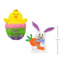 """Easter Tinsel Decor ~ 15.8"""" Bunny & 14.7"""" Chick"""