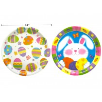 """Easter Printed Bunny & Eggs Plastic Tray ~ 14""""Dia"""