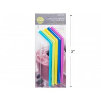 Luciano Silicone Smoothie Straws & Cleaning Brush ~ 6 pieces
