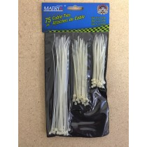 "Cable Ties - White ~ 4"", 5"" & 8"" ~ 75/pk"
