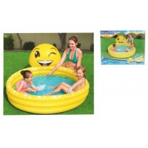"Emoji Inflatable 3-Ring Pool ~ 65"" x 75"""