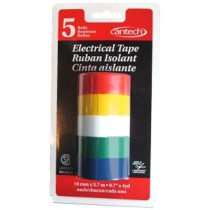 Cantech Colored Vinyl Electrical Tape ~ 5 colors per pack