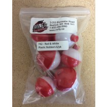 Mr Fly Assorted Red & White Plastic Floats ~ 6 per pack
