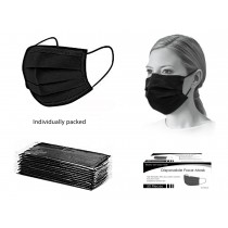 Bodico 4-Ply Disposable Mask - Black ~ 50 per box - Individually Wrapped