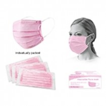 Bodico 3-Ply Disposable Mask Individually Wrapped - Pink ~ 50 per box